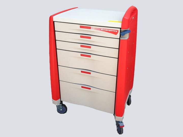 Crash Cart - Artromick Emergency Cart - 6 Drawer (Red)