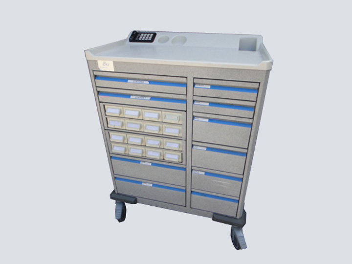 Crash Cart - DSI - 26 Drawer (Light Grey/Blue)