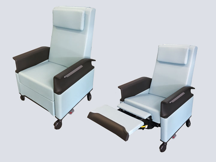Recliner/Sleeper Chair (Light Blue Leather)