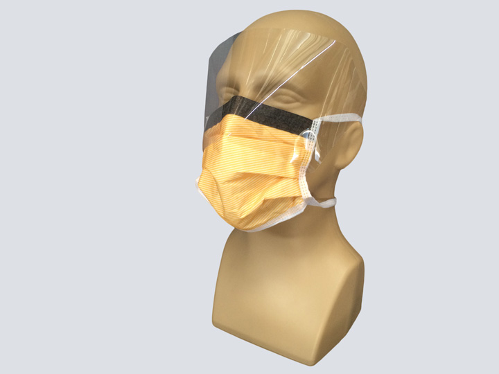 Mask - Orange Surgical Mask - w/Shield