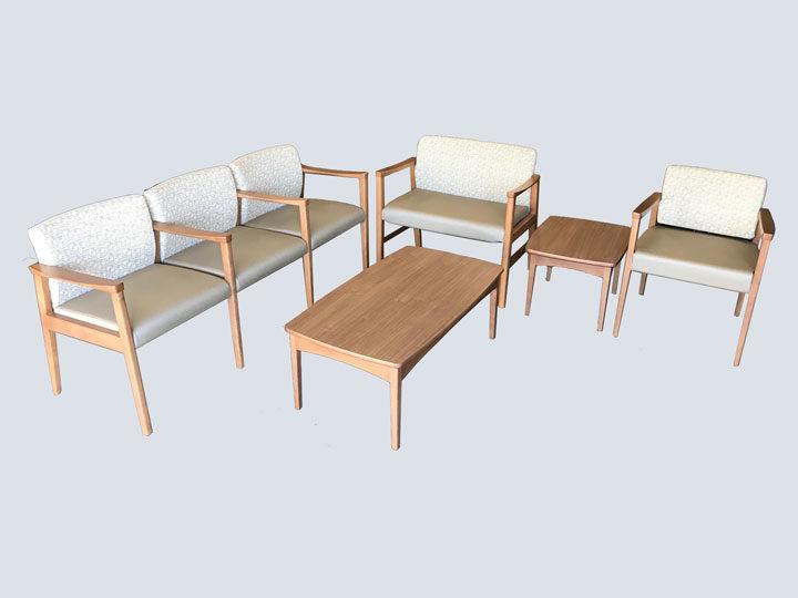 Waiting Room Furniture Set - Cream & Light Wood
