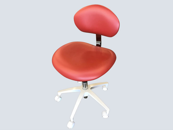 Dental Stool with Back - Paprika Red