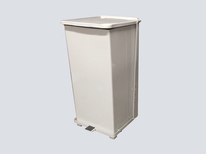 Trash-Can---White-Metal-(Tall)